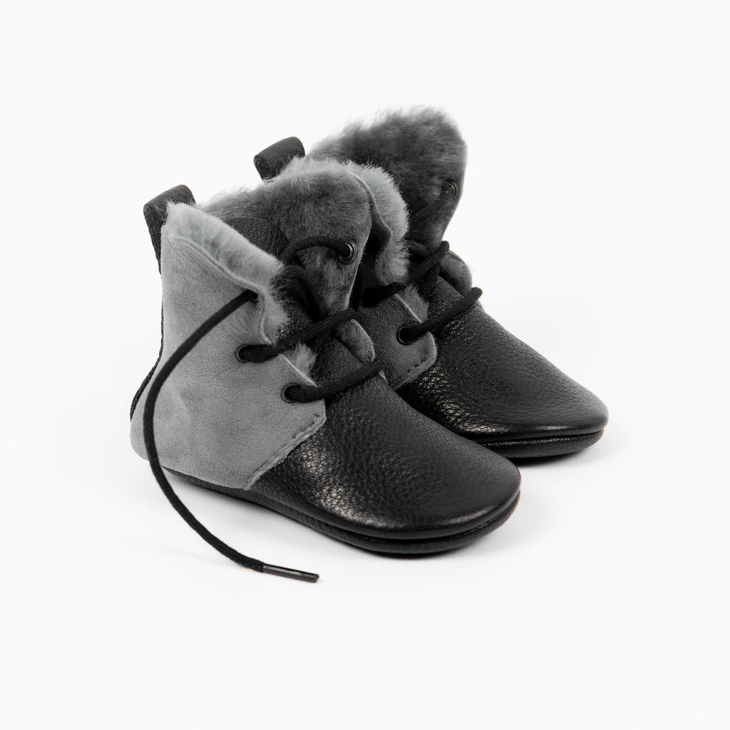 SLATE/BLACK SHEEPSKIN HIGH TOPS