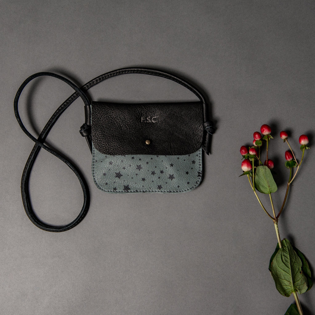 LIMITED EDITION - SLATE STARS/BLACK CHILDRENS CROSS BODY WITH STUD CLOSURE