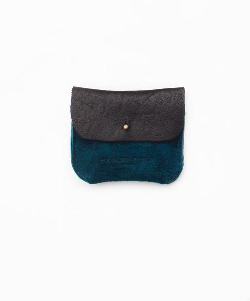 BLACK + TEAL SUEDE TWO POCKET COIN/CARD PURSE - Hedley Field