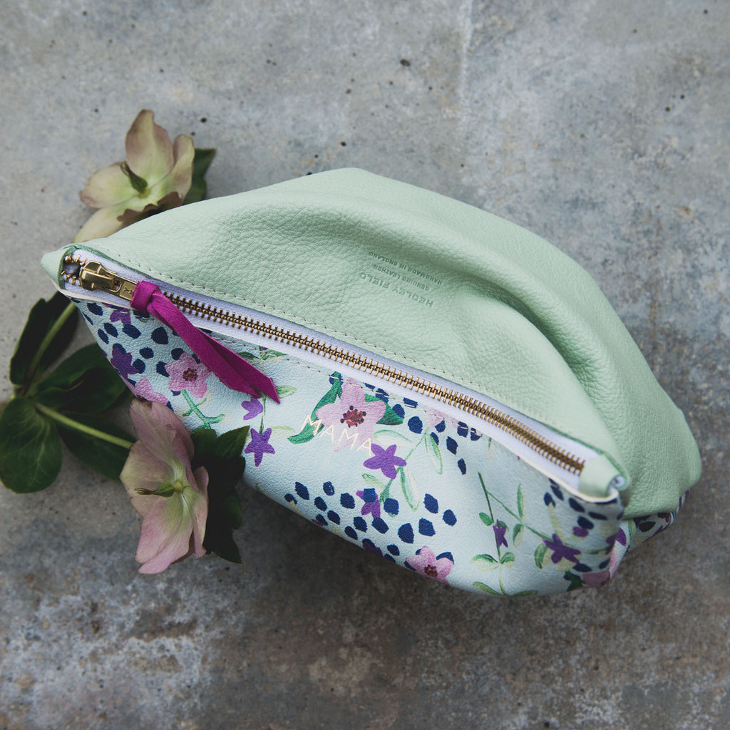 BLUE FLORAL/MINT LARGE MAMA POUCH