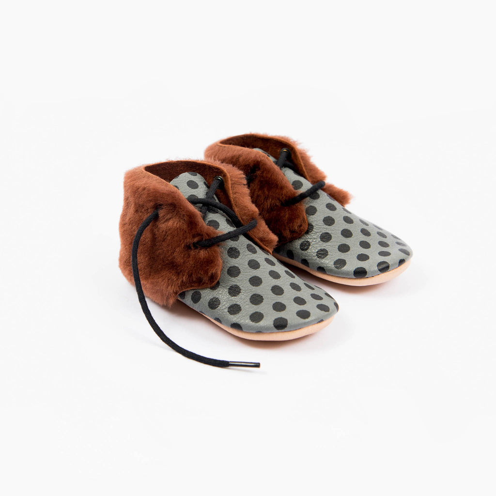 LUX SLATE SHEEPSKIN ANKLE BOOTS STOCK SALE - SIZE 7 (2.5-3 yrs)