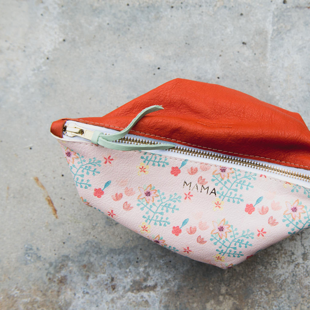 PINK FLORAL/RED LARGE MAMA POUCH