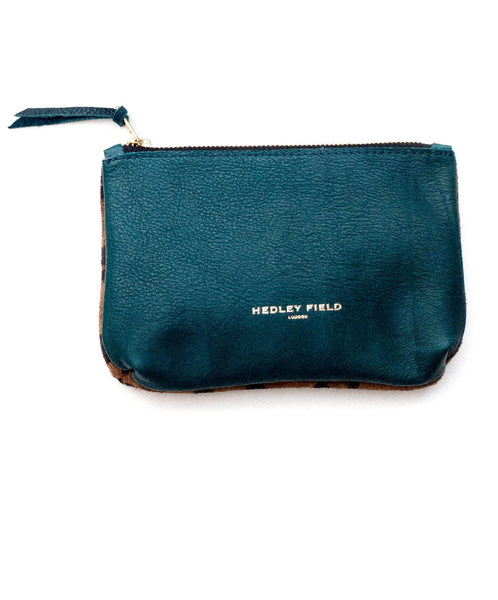 TEAL CHEETAH CONTRAST POUCH