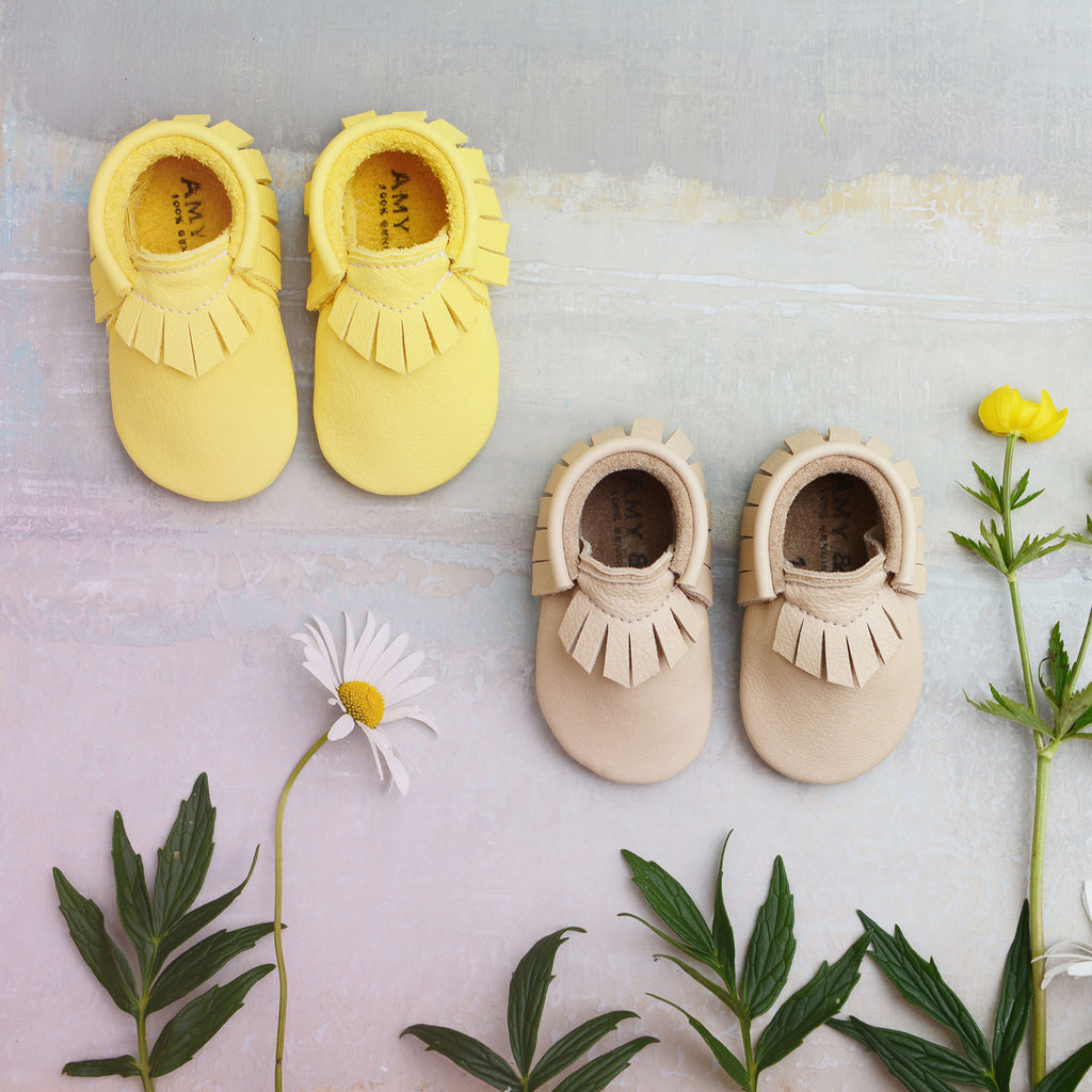 YELLOW MOCCASINS STOCK SALE - VARIOUS SIZES