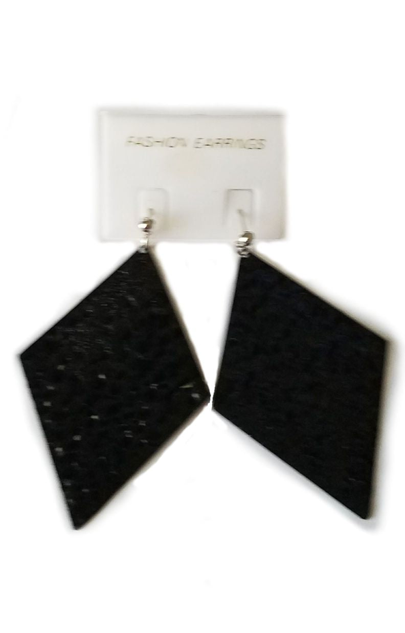 Black Metal Diamond-Shaped Earrings