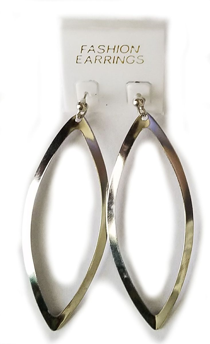 Silver Tear Drop Shaped Hoop Earrings