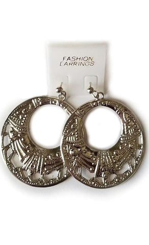 Silver Open Circle Hoop Earrings