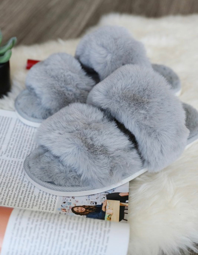 Faux Sure Slippers (Grey)