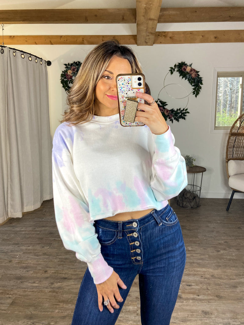 In The Clouds Crop Sweatshirt