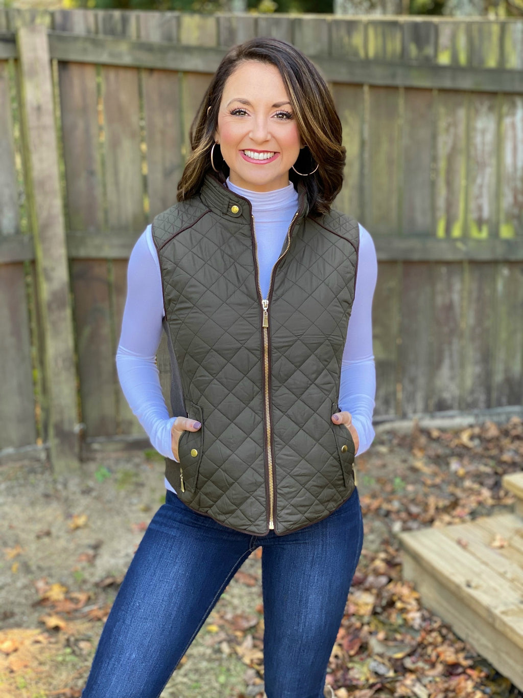Finely Quilted Vest (Olive)