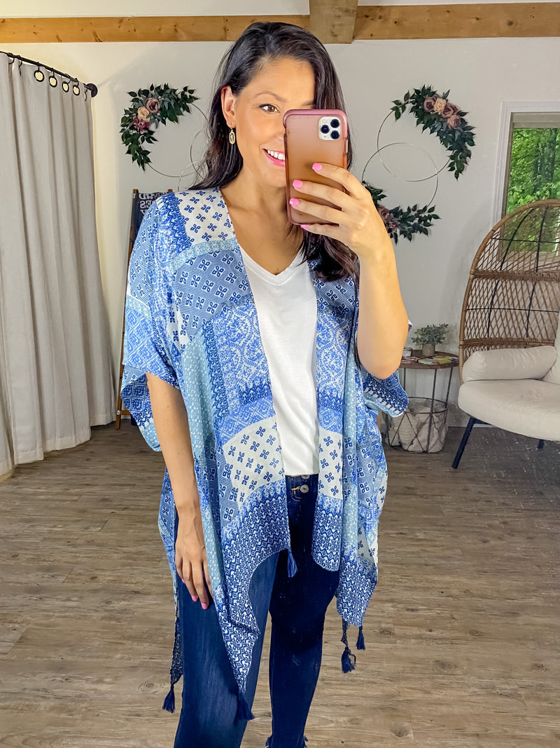 Patched Perfection Kimono (Blue)