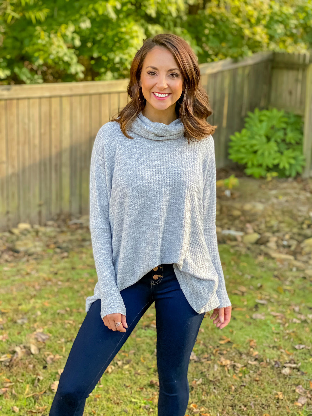 Never Let You Go Cowl Neck (Heather Grey)