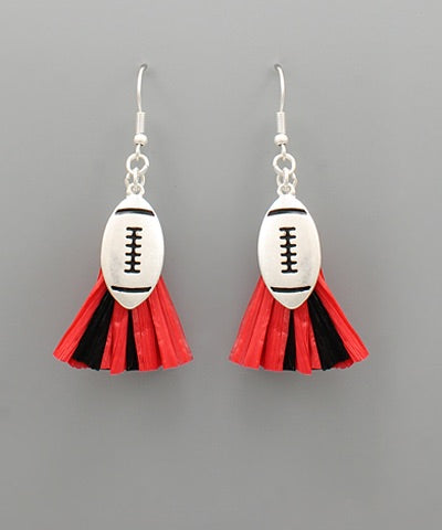Football Earrings (Red & Black)