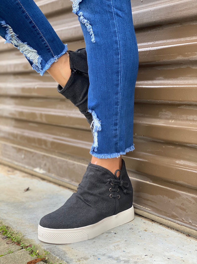 New Heights Wedge Sneaker (Black Canvas)