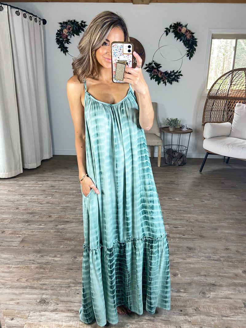 Twirl Me Round Sage Maxi Dress