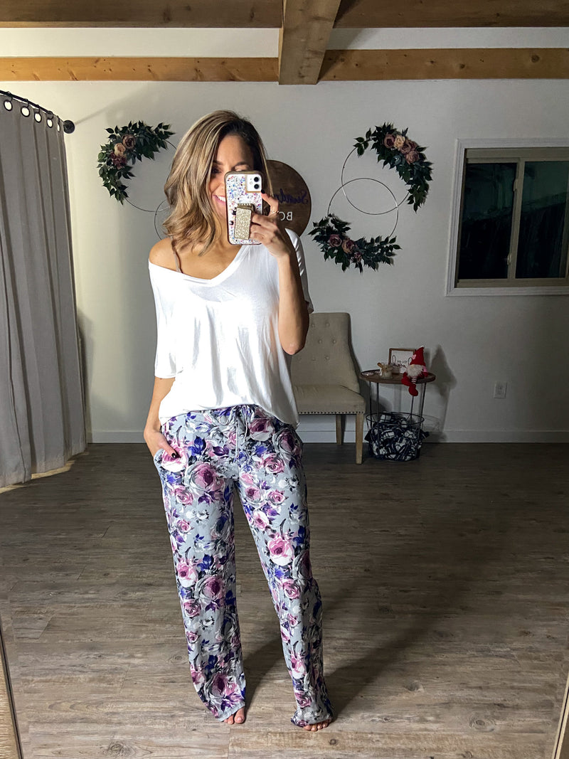 Purple Tulips Butter PJ Pants (Pockets)