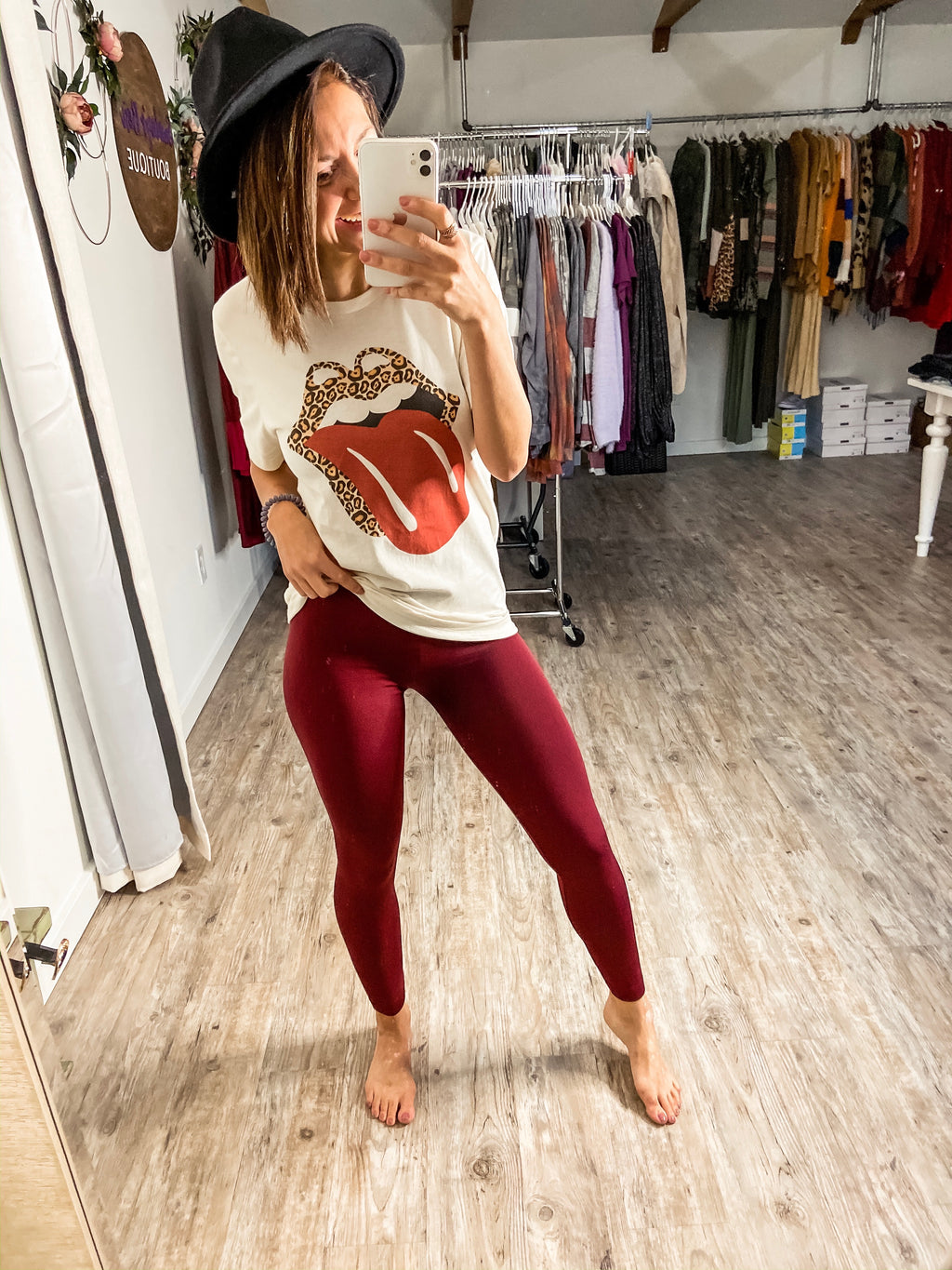Fleece Lined Leggings (Burgundy)