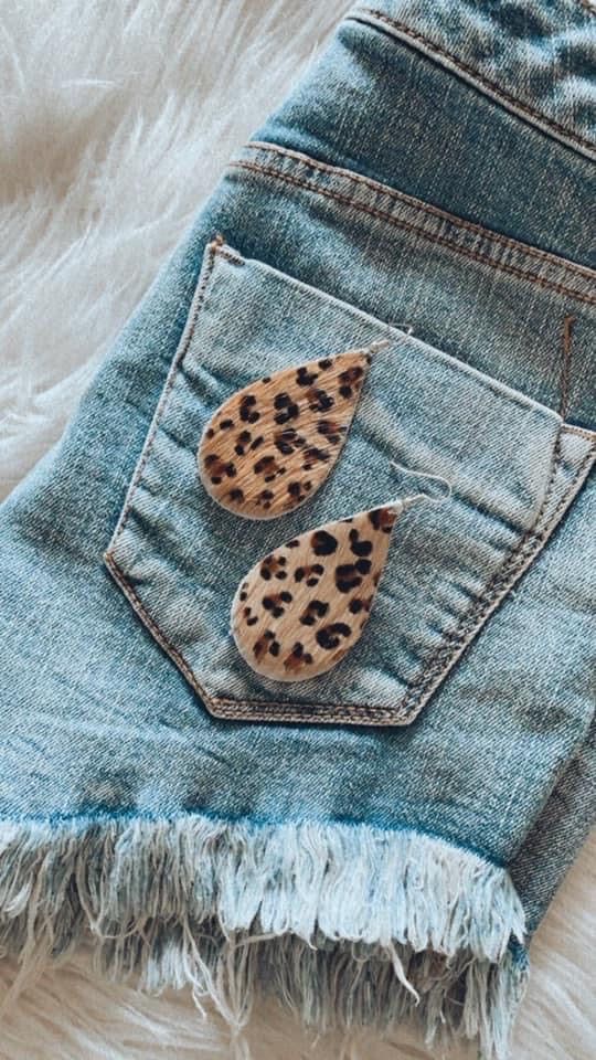 Cheetah Print Hair Raw Hide Earrings