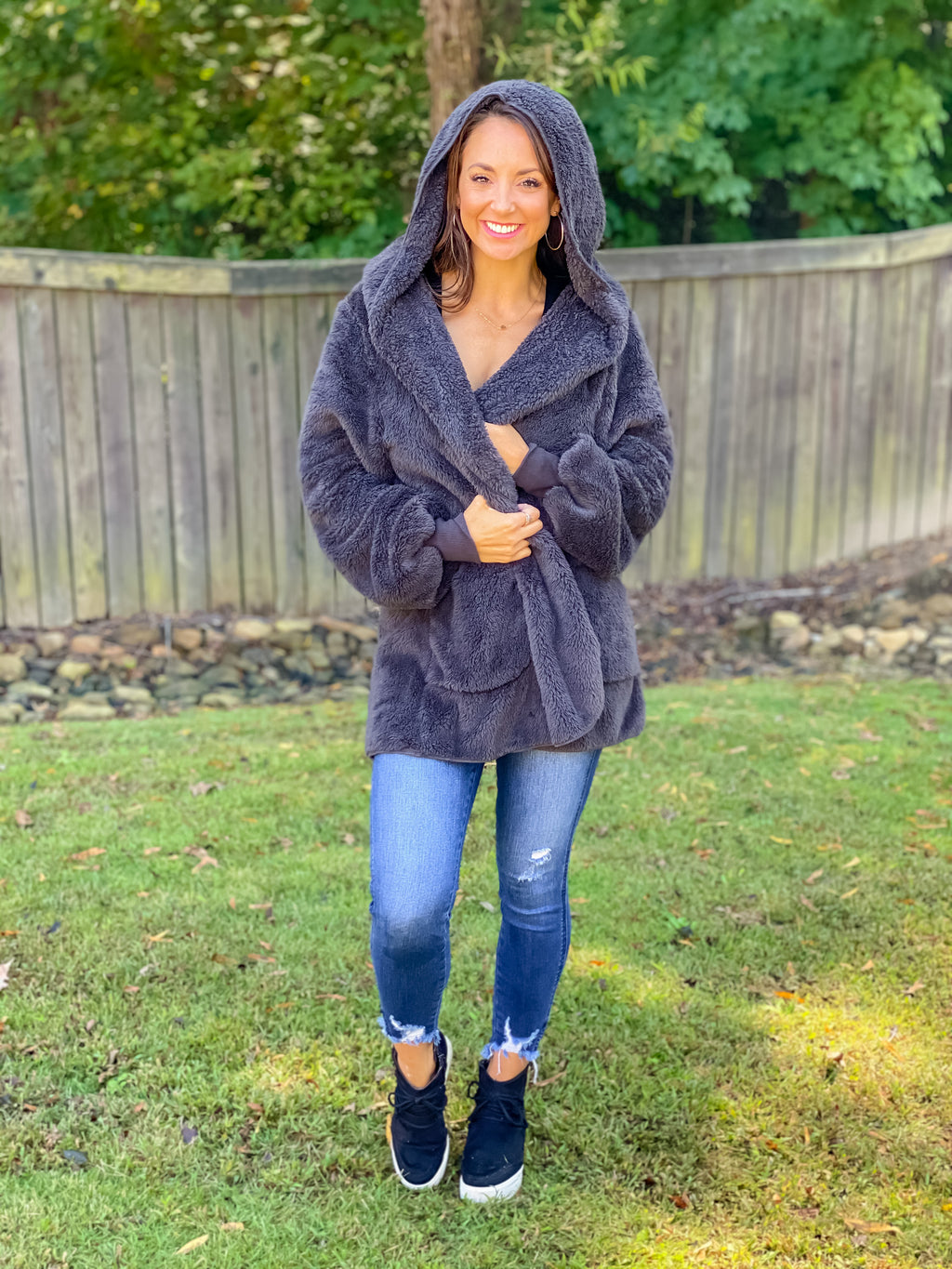 All Warm & Cozy Teddy Jacket (Charcoal)