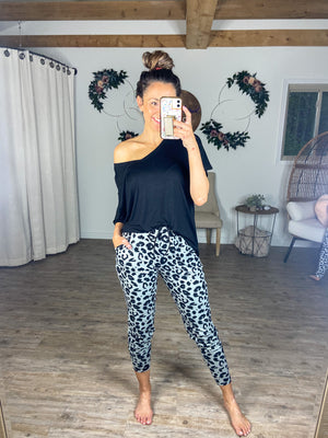 Snow Grey Leopard Joggers