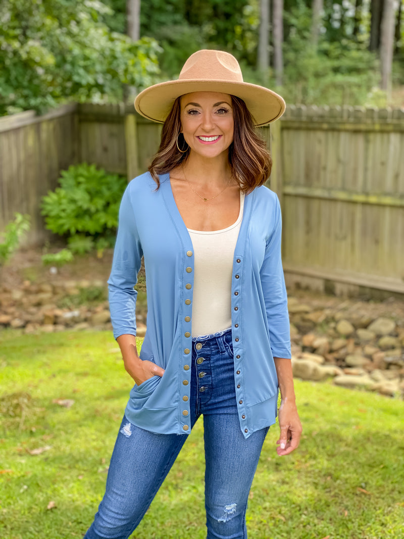 Basic Buttery Cardigan (Blue)