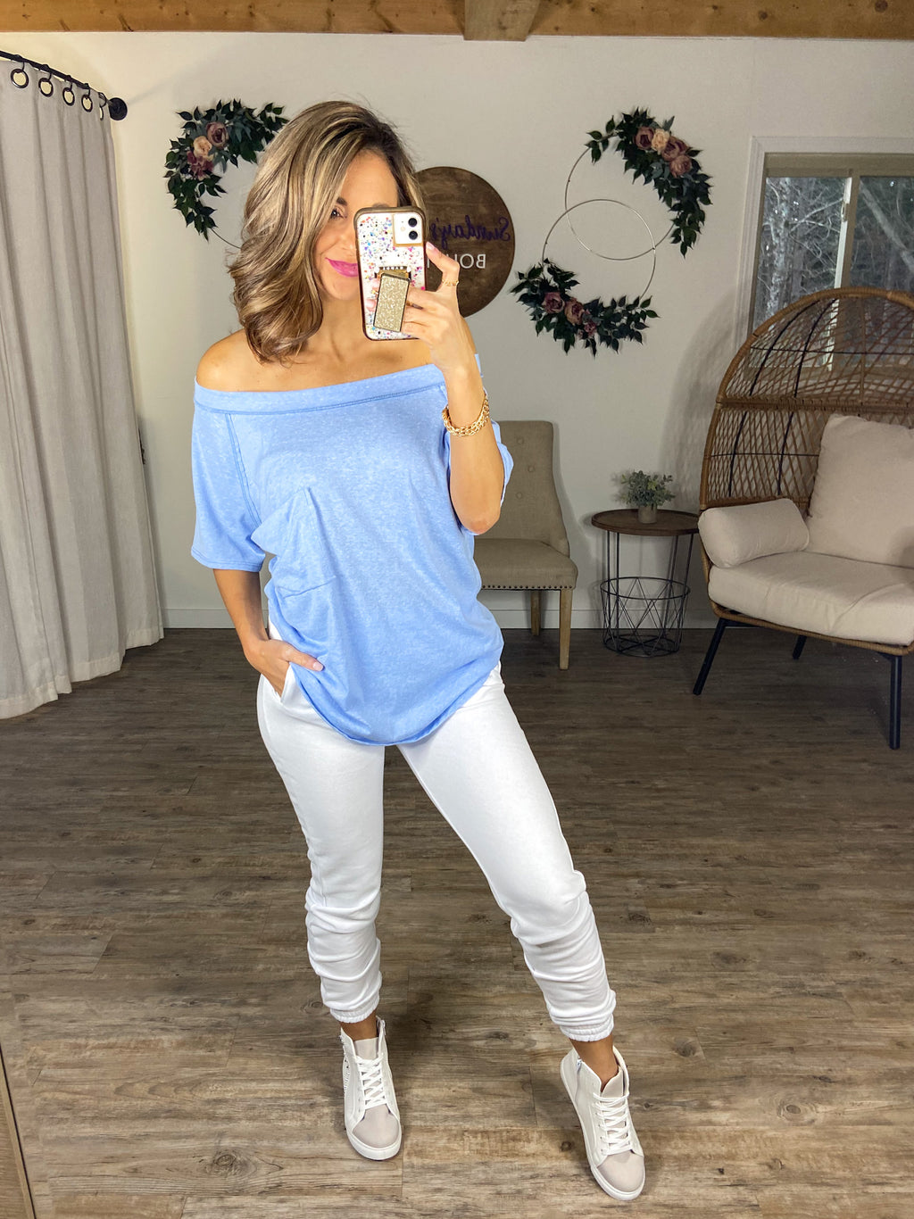 Slouchy Pocket Tee (Light Blue)