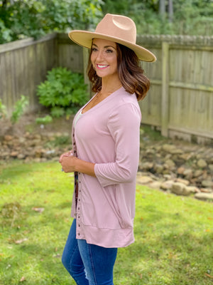 Basic Buttery Cardigan (Mauve)