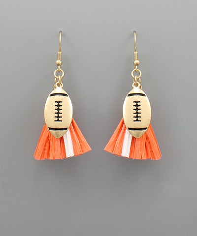 Football Earrings (Orange & White)