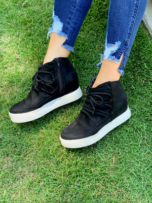 New Heights Wedged Sneakers (Black)