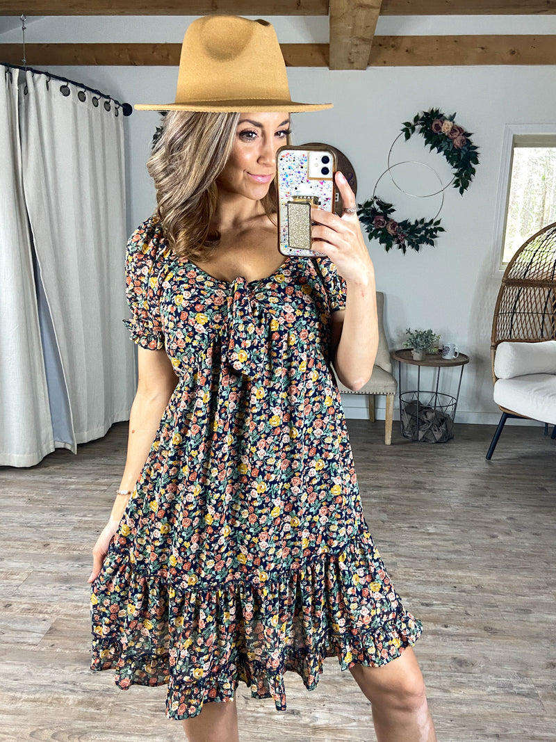 Dance with Me Floral Knee Length Dress