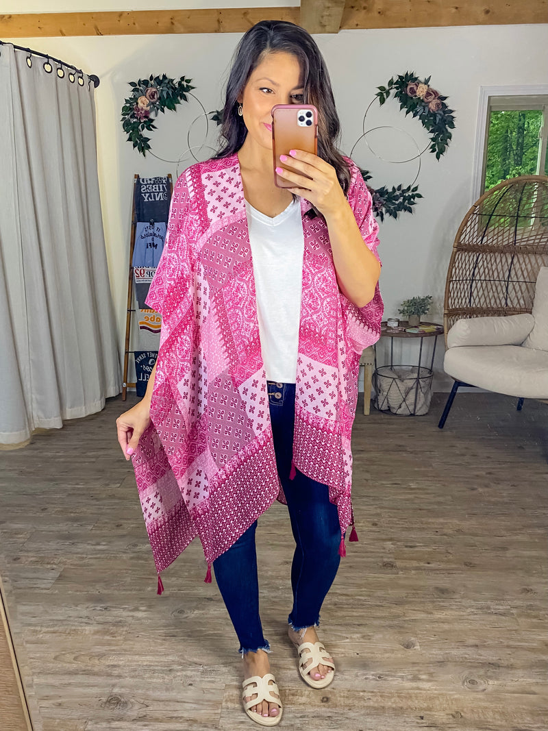 Patched Perfection Kimono (Fuchsia)