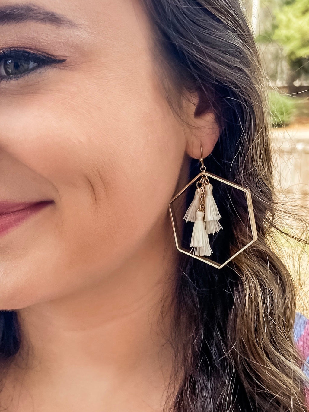 Have to Have Hexagon Tassel Earrings (Ivory)