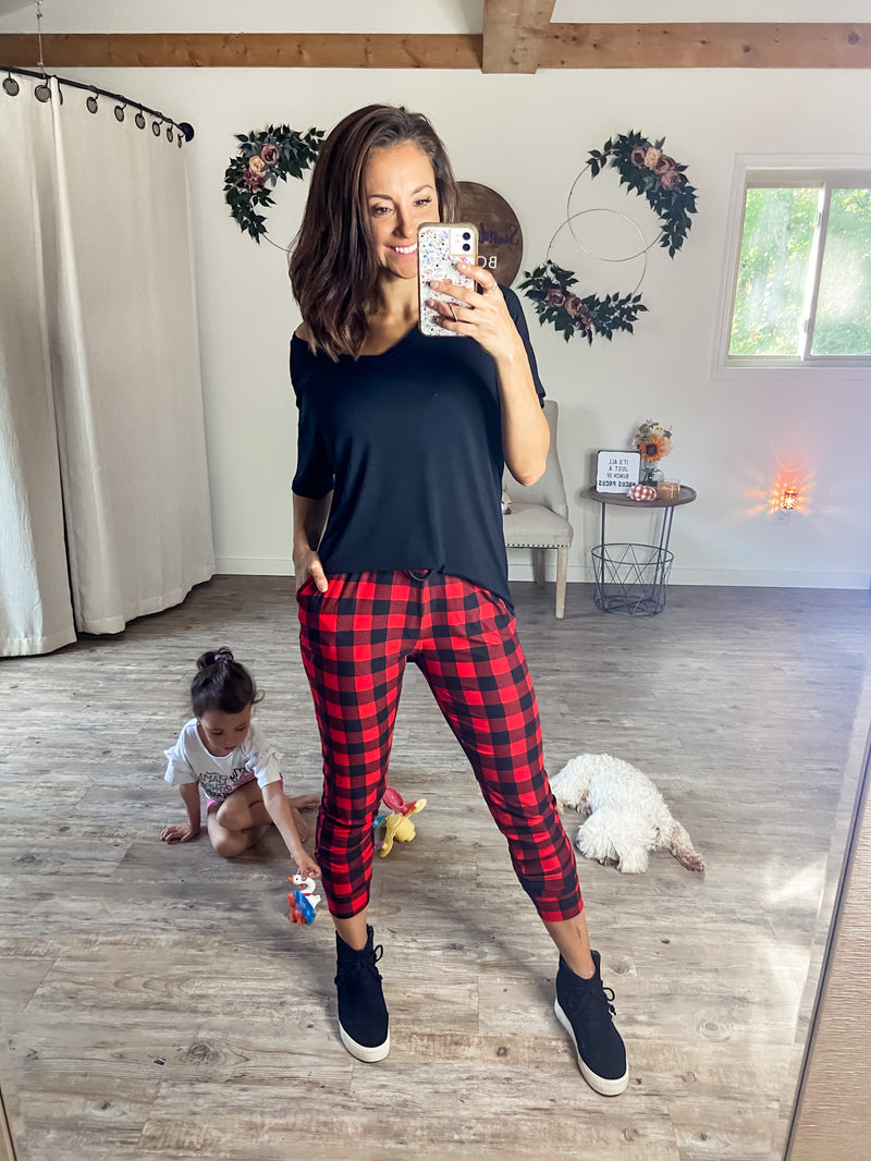 Buffalo Plaid Butter Joggers
