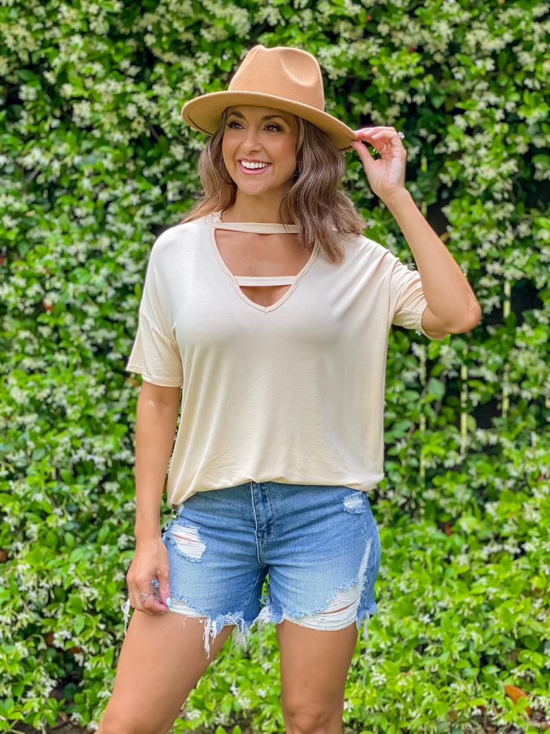 Double My Luck V Neck Top (Cream)