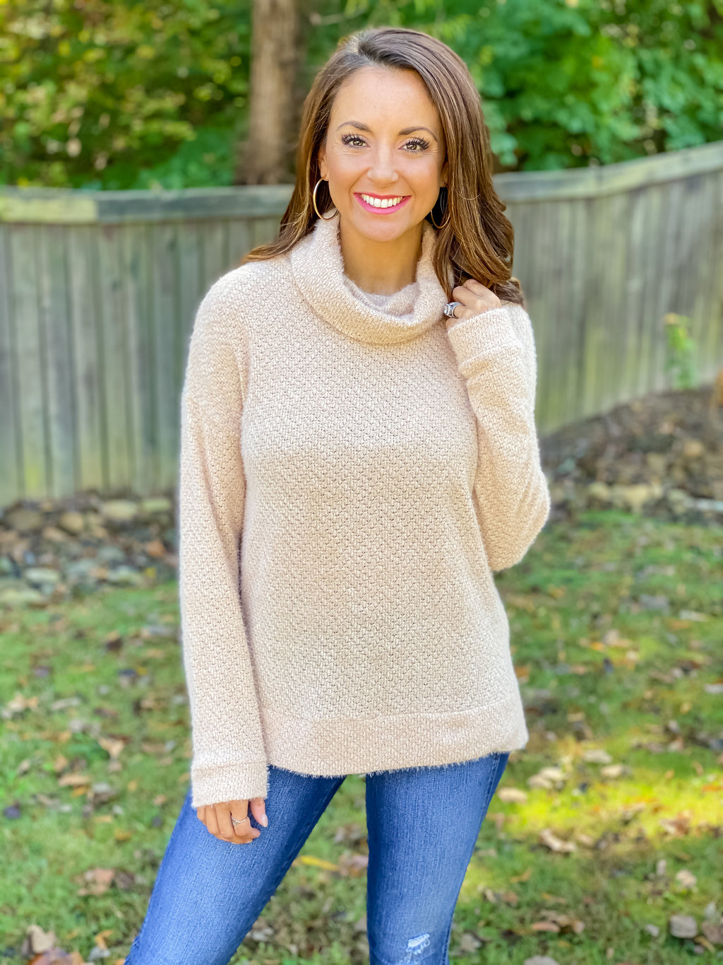 Because of You Cowl Neck (Taupe)