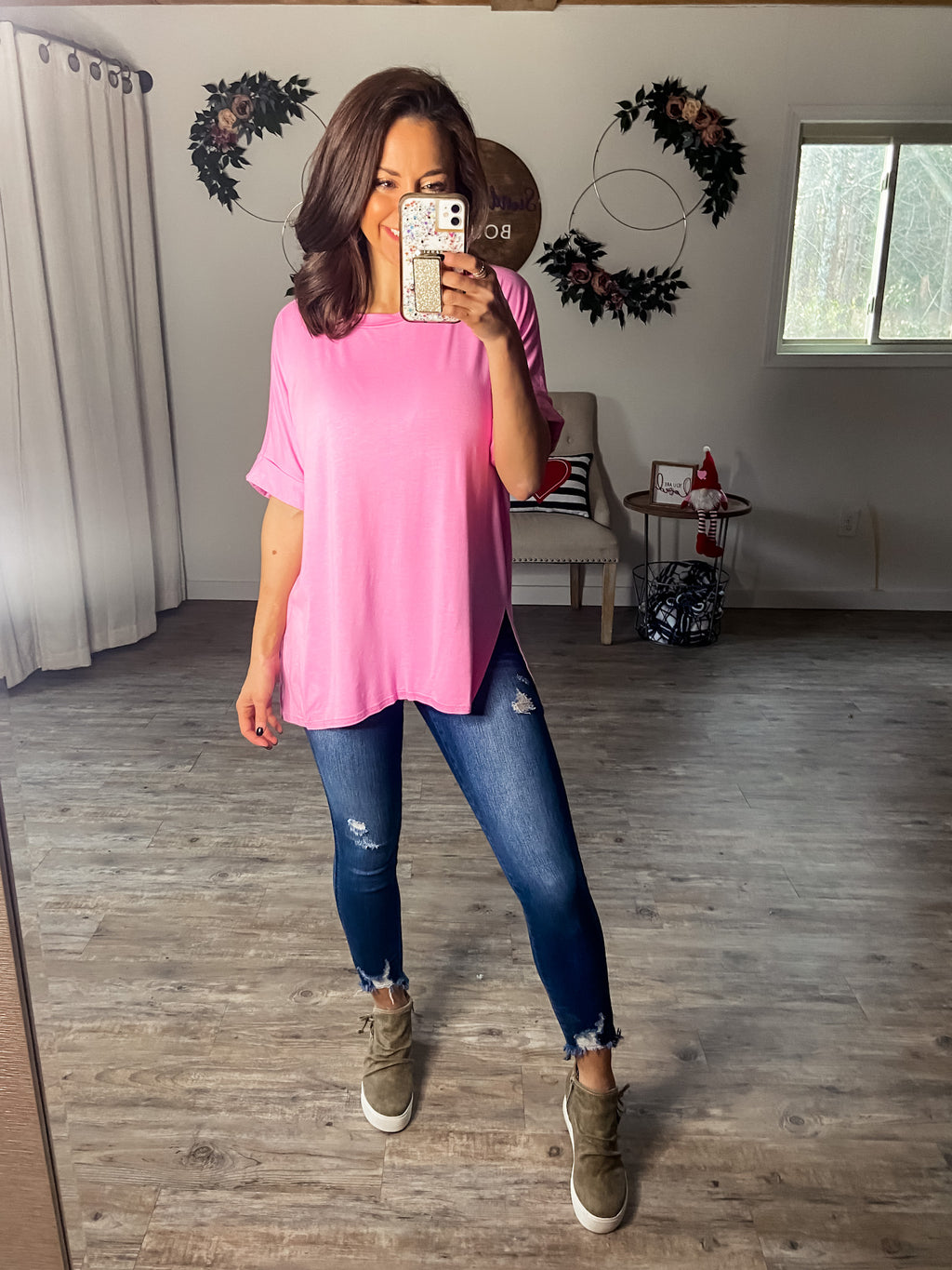 Pretty In Pink Boyfriend Top