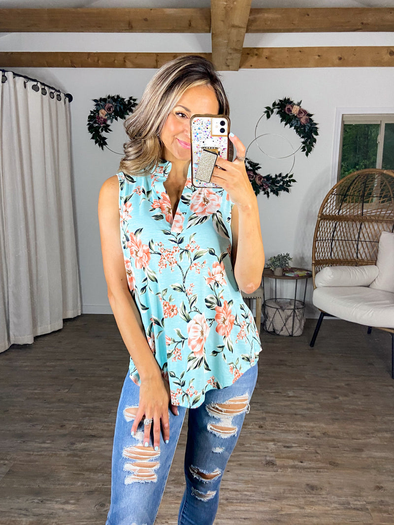 Mint Condition Floral Sleeveless Top