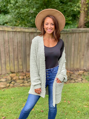 Poppin' into Fall Cardigan (Light Sage)