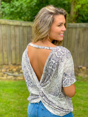 Calling My Name Snakeskin Open Back Top