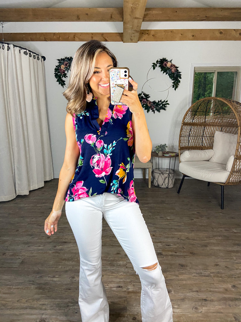 Twirl Me Around Floral Sleeveless Top