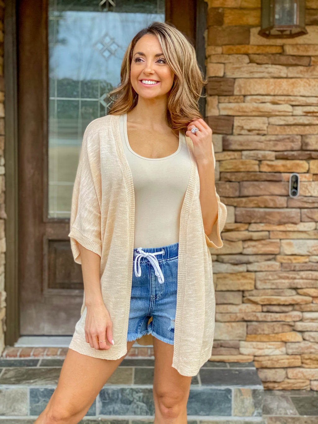 Can't Live Without You Cardigan (Light Peach)