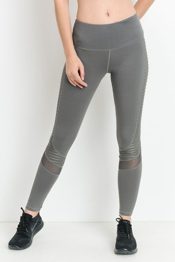 Four Way Stretch Moto Leggings (Gray)