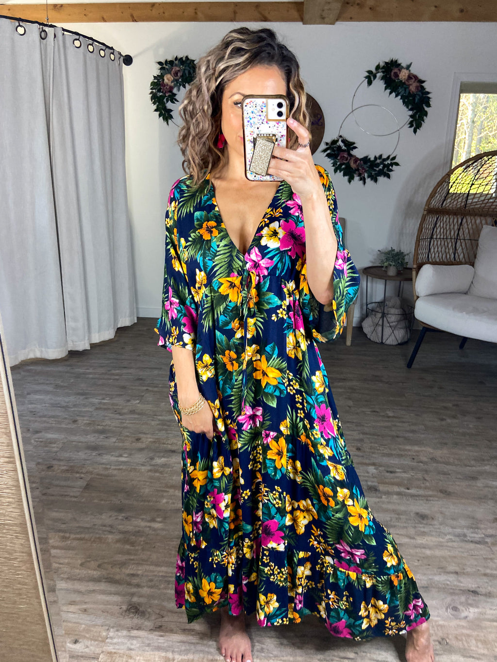 Tropical Fun Floral Tiered Maxi Dress