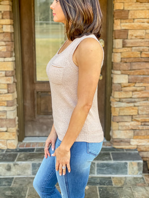 The Nikki Sweater Tank (Taupe)