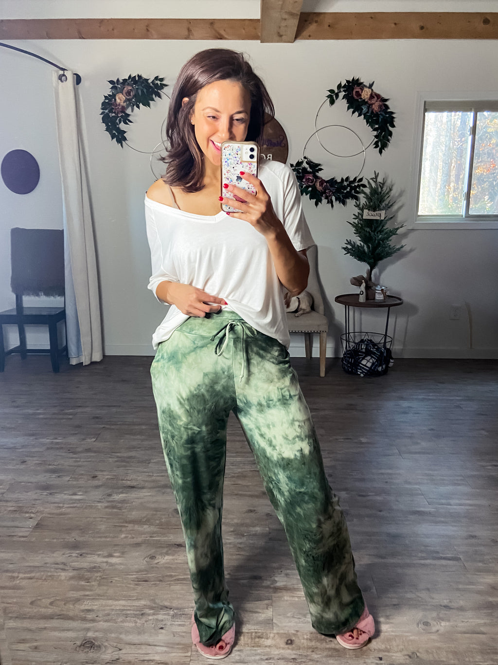 Olive You Tie Dye PJ Pants (Pockets)