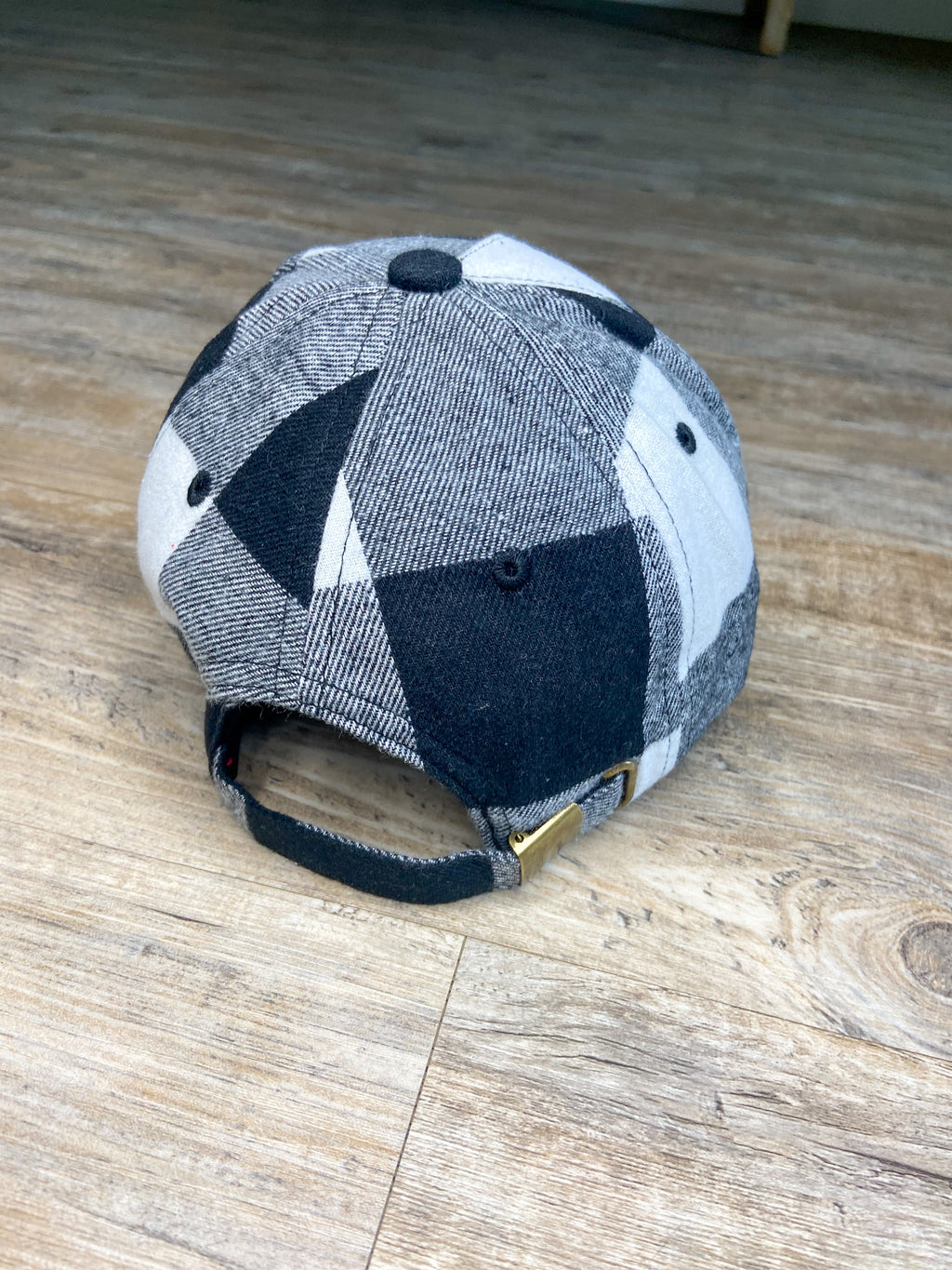 Buffalo Plaid Baseball Cap (Black & White)