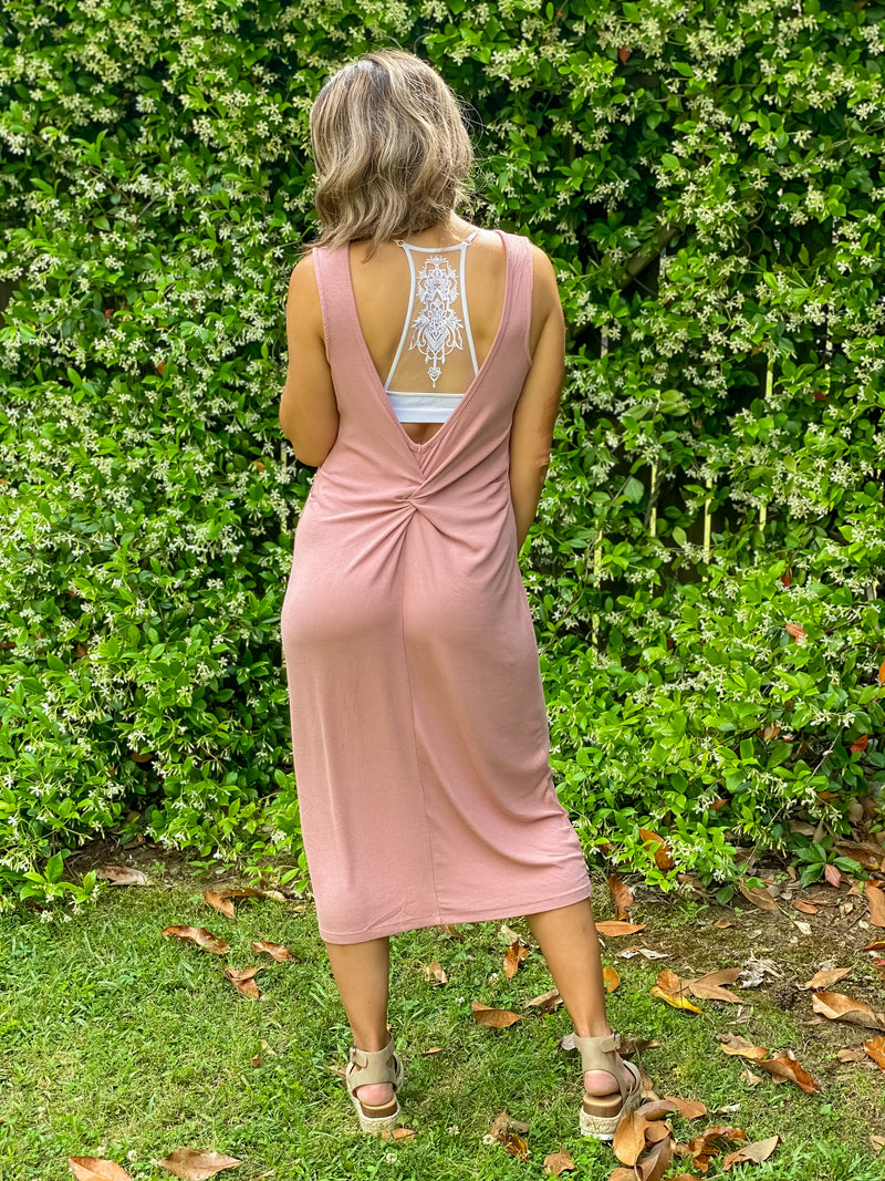Twist Me Around Rib Tank Dress (Mauve)