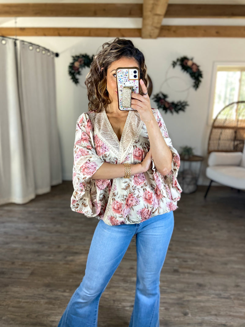 Fluttering Away With Me Floral Top
