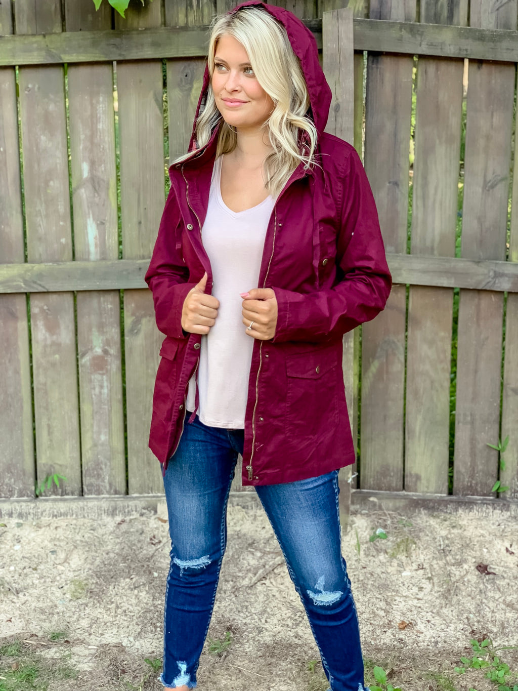 Mad for Plaid Cargo Jacket (Wine)