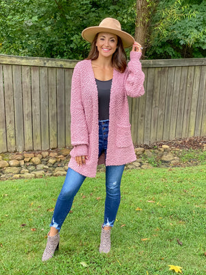 Poppin' into Fall Cardigan (Light Rose)